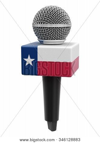 3d Illustration. Microphone And Texas Flag. Image With Clipping Path