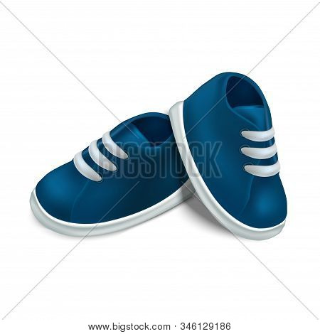 Realistic Detailed 3d Blue Baby Booties For Newborn Boy On A White. Vector Illustration Of Little Cu
