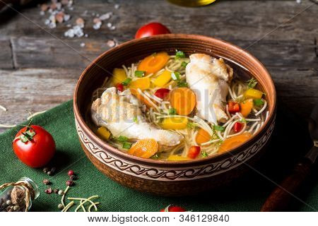 Chicken Soup With Vegetables. Healthy Food. Traditional Dish. Carrot Dish. Pasta Soup. Minestrone So