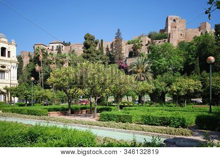 Malaga, Spain - July 11, 2008 - View Of The Pedro Luis Alonso Gardens With The Castle To The Rear, M