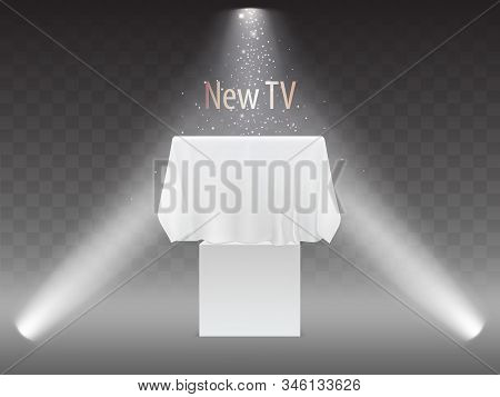 New Tv Concept, Exhibition With Screen In Lights Of Projectors. Mock Up Of Plasma Television, Modern