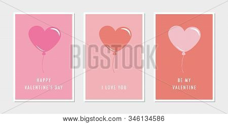 Set Of Valentines Day Greeting Cards With Heart Balloon Vector Illustration Eps10