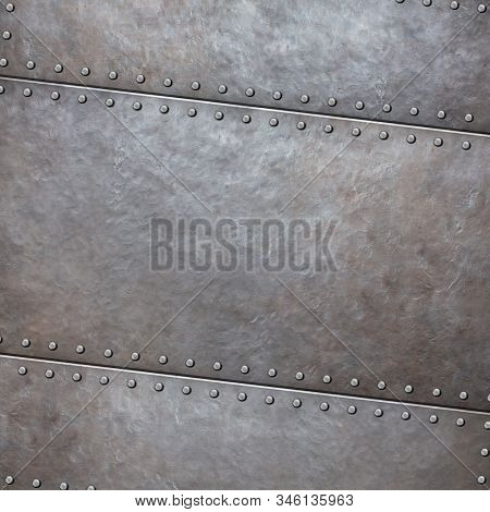 Steel rustic metal plate background with rivets 3d illustration