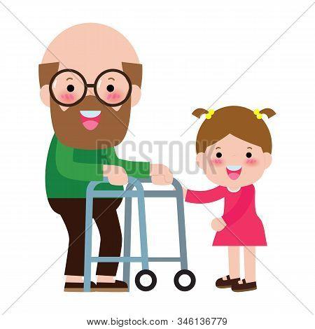 Happy Family Grandfather And Grandson, Children Volunteer Helping Grandfather Walking, Concept Elder