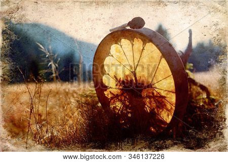 Shamanic Drum In Nature, Shamanic Drum, Old Effect And Border.