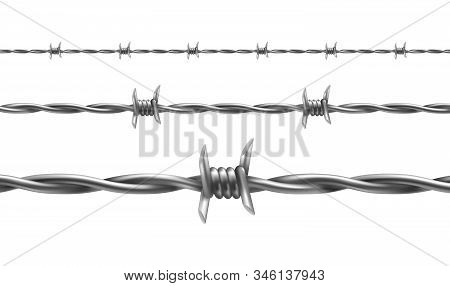 Barbed Wire Illustration, Horizontal Seamless Pattern With Twisted Barbwire Isolated On Background.