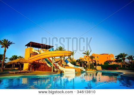 Colorful Aquapark  In The  Swimming-pool.