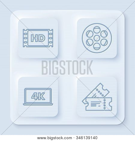Set Line 4k Movie, Tape, Frame , Film Reel , Laptop Screen With 4k Video Technology And Cinema Ticke