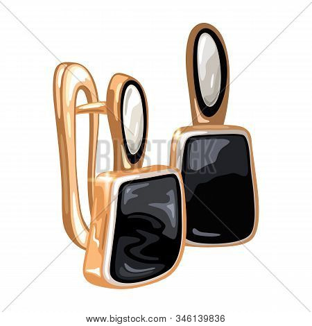Elegant Golden Earrings With Oval And Square Shape Precious Stones White And Black Opal, Spinel Or A