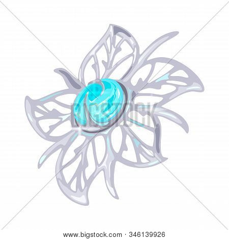 Elegant Floral Carved Platinum, White Golden Or Silver Brooch, Charm Or Pendant With Five Petals And