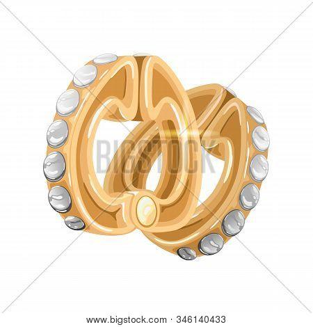 Elegant Yellow Gold Earrings With Shiny Diamonds. Luxury Earclips With Phianite Or Cubic Zirconia. V