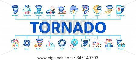 Tornado And Hurricane Minimal Infographic Web Banner Vector. Tornado Blowing House Roof, Cyclone On
