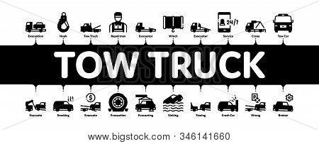 Tow Truck Transport Minimal Infographic Web Banner Vector. Tow Truck Evacuating And Transportation B