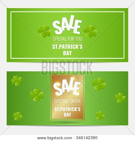 Set Of Gorizontal Banners For St. Patricks Day With Four-leaf Clovers.