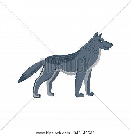 Extinct Animals. Dire Wolf. Prehistoric Extinct American Wolfl. Flat Style Vector Illustration Isola