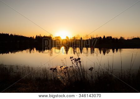 Beautiful Sunset On River Kymijoki At Winter, Finland.