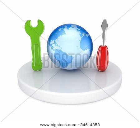 Tech support concept. Isolated on white background. 3d rendered. poster