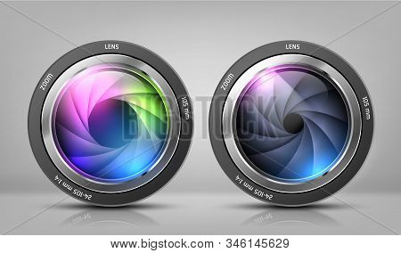 Realistic Clipart With Two Camera Lenses, Photo Objectives With Zoom Isolated On Background. Optical