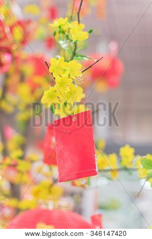Lucky Money Envelops Hanging On Artificial Yellow Apricot At Tet Market In Texas, America