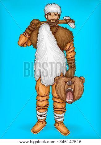 Pop Art Caveman In Fur Pants, White Hat And Footwear. Hunter Holds Wild Bear Head, Prey. Neanderthal