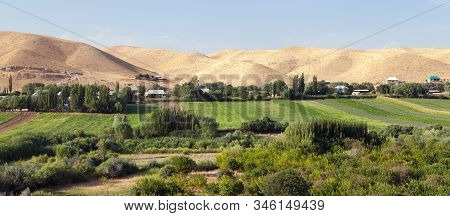 Fergana Or Fargona Valley In Kyrgyzstan. Oasis And Desert