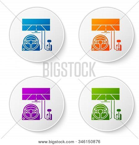 Color Racing Simulator Cockpit Icon Isolated On White Background. Gaming Accessory. Gadget For Drivi
