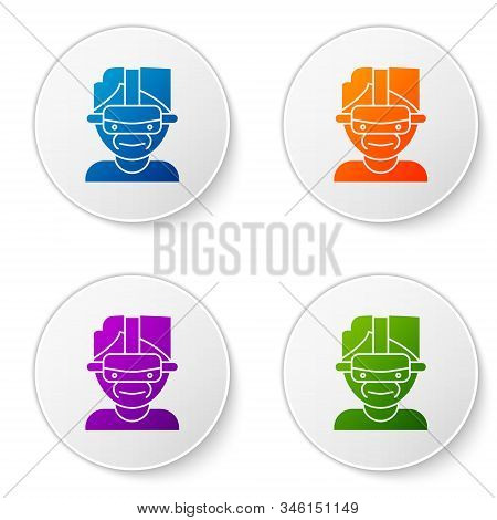 Color Virtual Reality Glasses Icon Isolated On White Background. Stereoscopic 3d Vr Mask. Set Icons