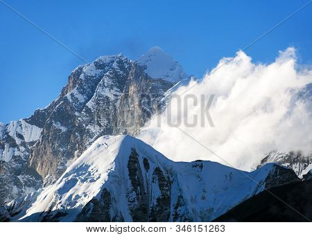 View Of Everest Lhotse And Lhotse Shar From Barun Valley, Nepal Himalayas Mountains