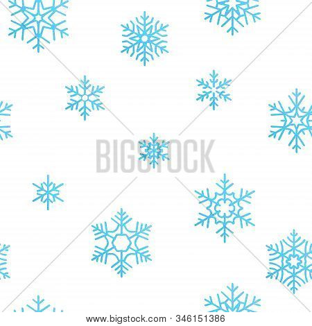 Merry Christmas Holiday Decoration Effect Background. Blue Snowflake Seamless Pattern Template. Eps