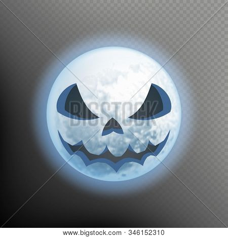 Halloween Postcard With An Ominous Moon. Scary Face On The Moon. Isolated On Transparent Background.