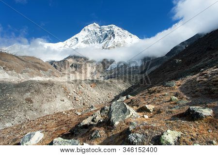 Mount Makalu With Clouds, Nepal Himalayas Mountains, Barun Valley