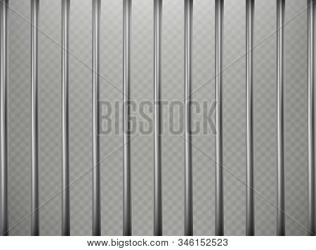 Prison Bars Foreground Effect, Isolated On Transparent Background. Steel Grid. Eps 10