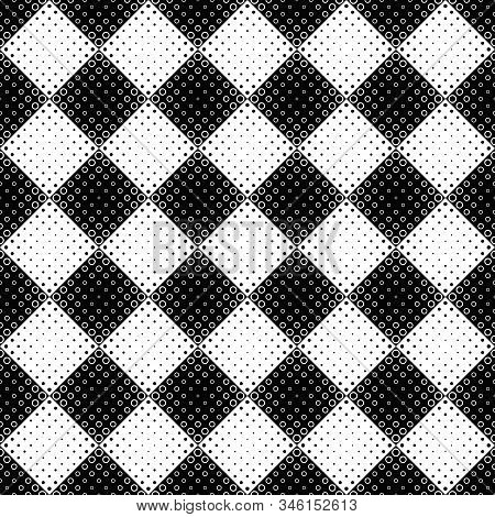 Black And White Seamless Circle Pattern Background - Monochrome Abstract Vector Graphic Design From