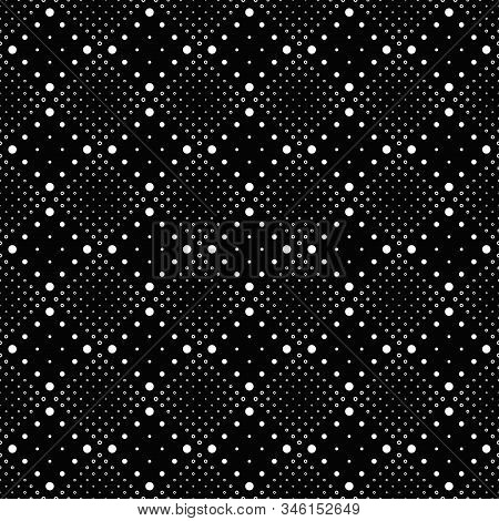 Geometrical Monochrome Circle Pattern Background - Black White Vector Graphic Design From Dots And C