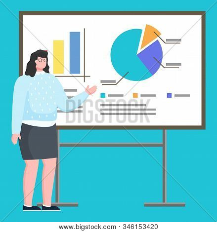 Presentation Of Female Character Working On Company. Isolated Employer Pointing On Feature Points Of