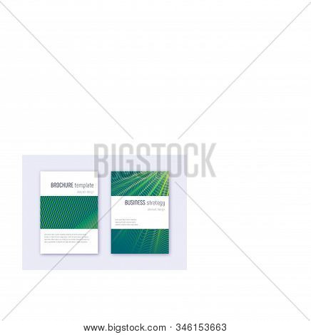Minimalistic Cover Design Template Set. Green Abstract Lines On Dark Background. Enchanting Cover De