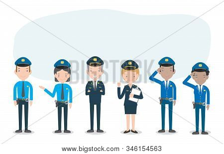 Set Of Police Officers On White Background, Woman And Man Cops Characters,security In Uniform And Ca