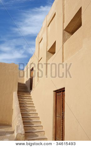stairs to the second level of porch in Riffa fort Bahrain