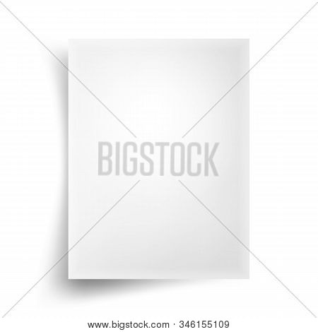 Realistic White Blank Paper List With Shadow Isolated On White Background. Eps 10