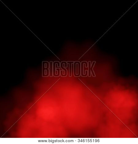 Red Fog Or Mist Color Special Smoke Effect Isolated On Black Background. Eps 10
