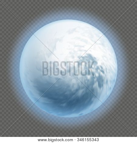 Realistic Detailed Full Big Blue Moon Isolated On Transparent Background. Horror Night Concept. Hall