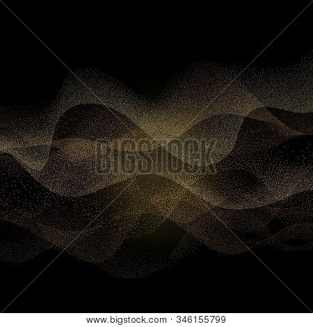Abstract Smooth Curved Lines Stippling Style Dotwork Background. Eps 10