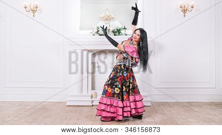 Singer Of The Gypsy Dance In Traditional Costume.