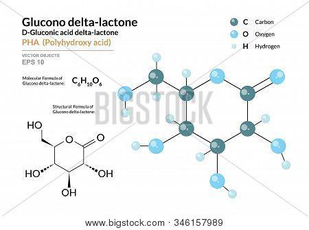 Gluconic Acid Delta-lactone. Pha Polyhydroxy Acid. Structural Chemical Formula And Molecule 3D Model