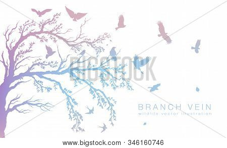 Figure Set Multicolored Flock Of Flying Birds On Tree Branch