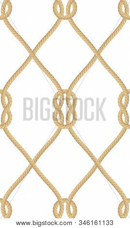 Seamless Pattern Of Realistic Nautical Rope Knot Isolated On White. Texture For Print Or Textile Pro