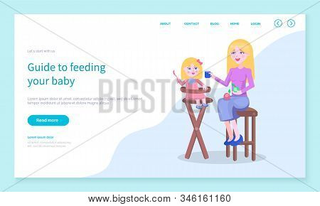 Guide To Feed Your Baby. Mother Giving Small Daughter Sitting On Chair Food. Mommy And Kiddo Eating