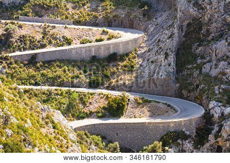 A Spectacular Route Through The Serra De Tramuntana Mountains In Mallorca. Spain