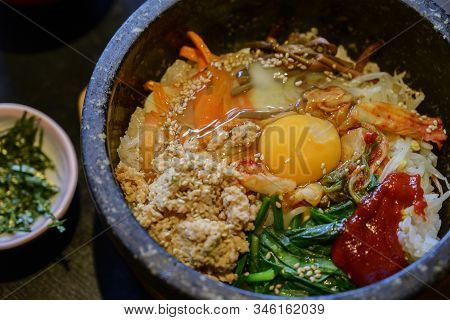 Bibimbap Rice Stone Bowl On A Food Background