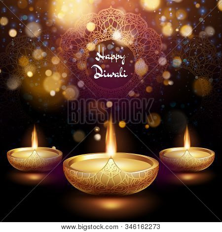 Happy Diwali Illustration Of Burning Diya. Holiday Background. Eps 10